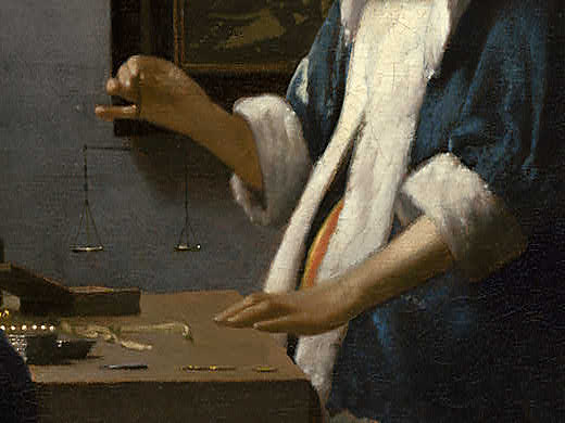 Johannes Vermeer - Woman Holding a Balance - Detail 6Vermeer Woman Holding A Balance